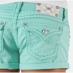 Miss Me Mint Stitched Crystal Flap Pocket Shorts